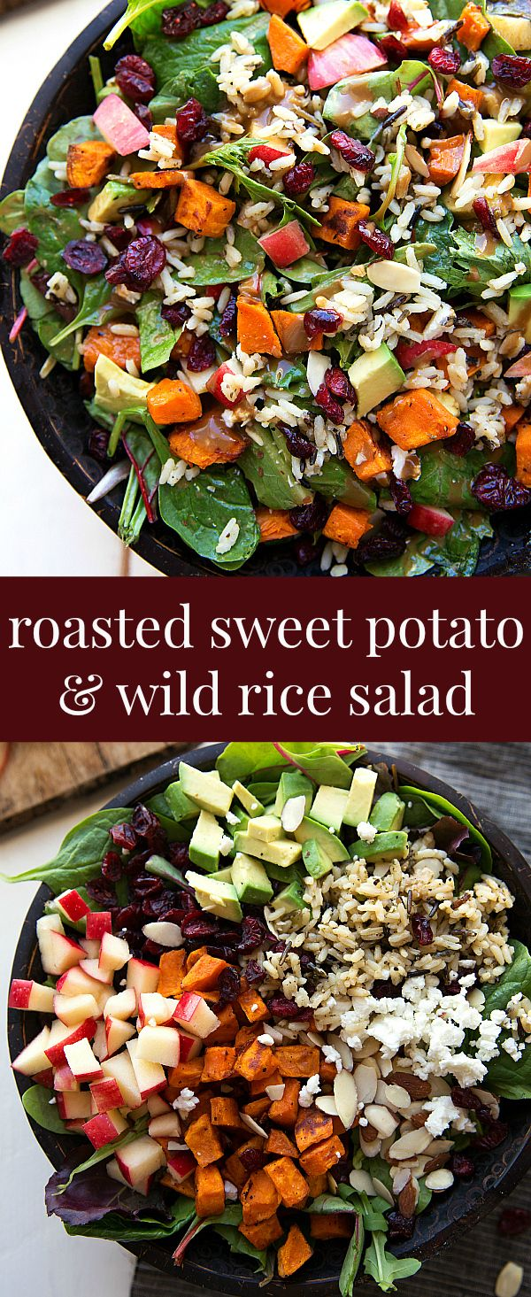 The best hearty and healthy Thanksgiving salad – mixed greens with roasted sweet potato, seasoned wild ric