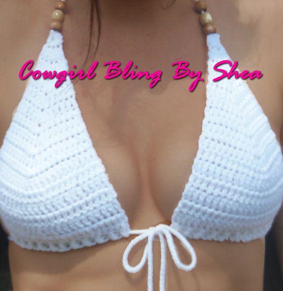 White crochet Bikini top sizeLarge by CowgirlBlingByShea on Etsy, $20.00