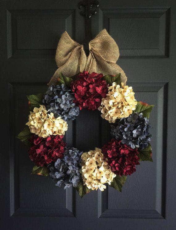 Patriotic Wreath  Americana Decor  with Exclusive Denim Blue Hyrangeas ~ handmade by HomeHearthGarden