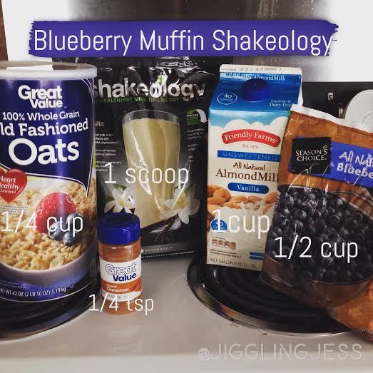 Blueberry Muffin Shakeology Recipe:  1c dry oats 1 scoop Vanilla Shakeo 1c unsweetened almond milk 1/2c bl