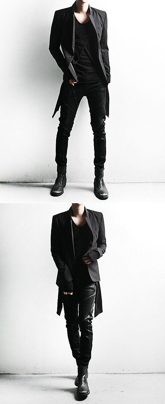 Bottoms :: Dark Cloud Washing Skinny Black Biker Jean – 64 – New and Stylish – Fast Mens Fashion – Mens Cl