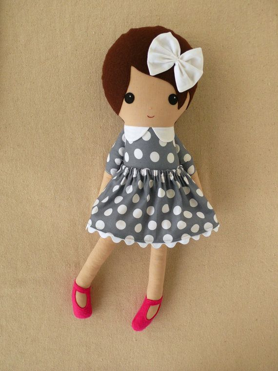 Custom Listing for Leah51 – Fabric Doll Rag Doll Girl in Gray Polka Dotted Dress with Hot Pink Shoes