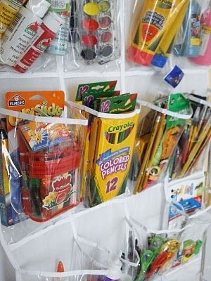 Works great for crafts, too. | 41 Clever Organizational Ideas For Your Child's Playroom