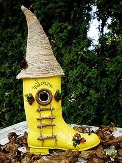 Fairy Garden Boot House…So awesome. It's weatherproof and easy to cut through for designing. Plastic fro