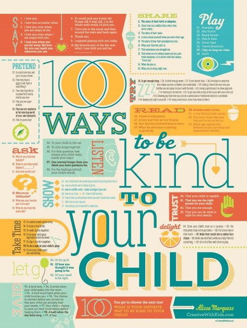 100 Ways to be Kind to Your Child – get this poster from Creative With Kids