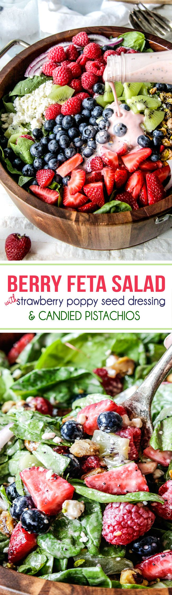 Berry Feta Spinach Salad with Creamy Strawberry Poppy Seed Dressing and CANDIED pistachios is so easy, del