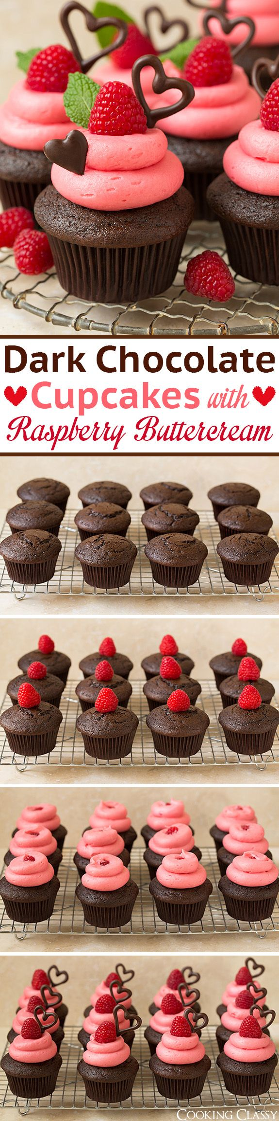 Dark Chocolate Cupcakes with Raspberry Buttercream Frosting – these are so decadently DELICIOUS! The ultim