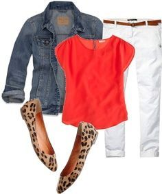 POLYVORE COLORED JEAN OUTFITS | Polyvore Outfits. Cute!  Leapard print heels for me!  I already have these