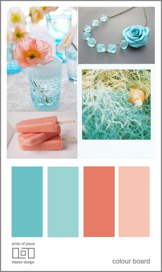 beach wedding color schemes | Beach Weddings / Teal and Coral color scheme