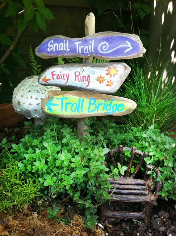 fairy garden signpost, painted signs fairy ring, snail trail, troll bridge on a rustic sign post, minature