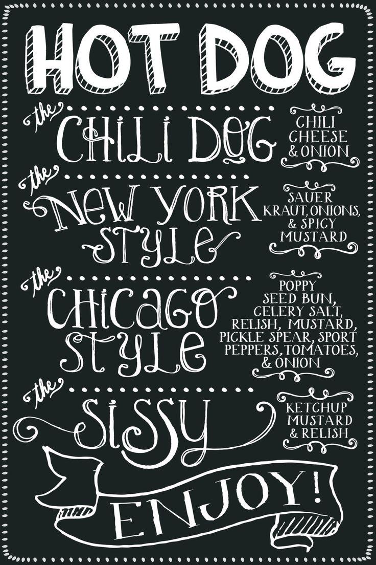 HOT DOG MENU /// Chalkboard Style Custom Party Decor Printable by MilkBananaStudio on Etsy