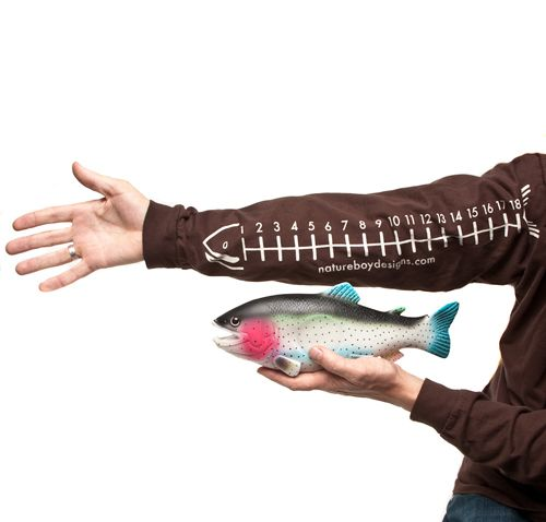 Gotta get Max one of these for measuring real and imaginary catches! Fish measuring shirt. Nature Boy Desi