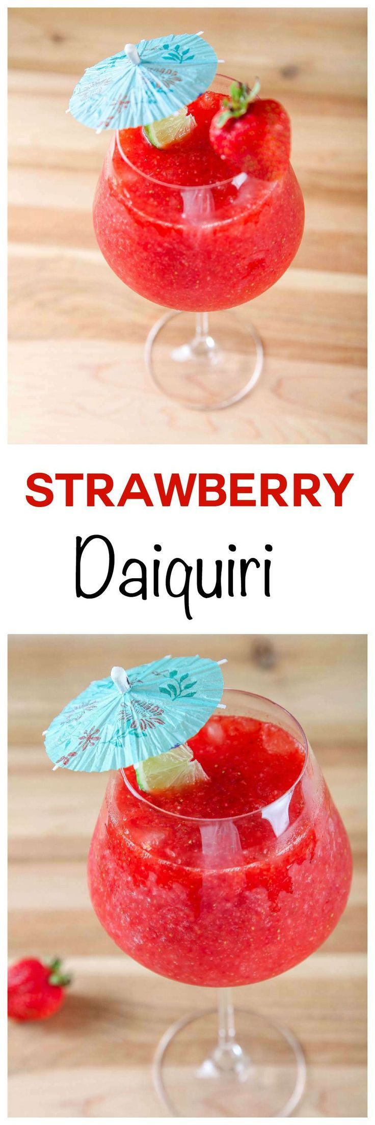 Easy Strawberry Daiquiri: Frosty, sweet, and refreshing cocktail that couldn't be easier to make. Requires