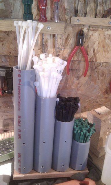 Zip tie storage in pvc pipes