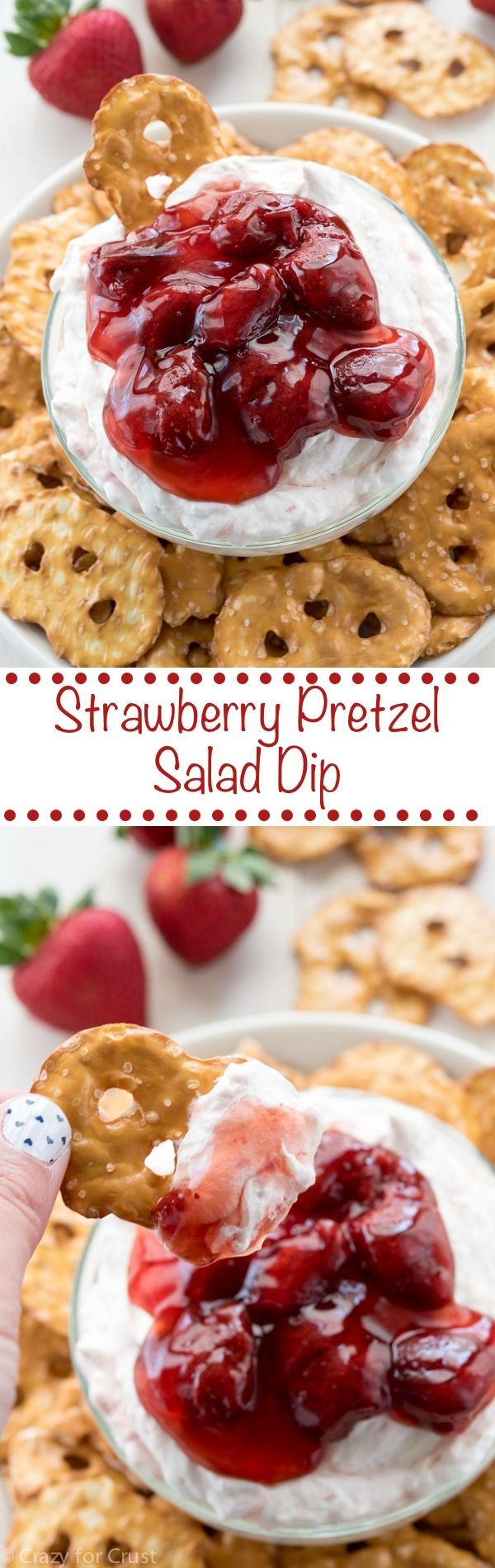 Strawberry Pretzel Salad Dip! Turn a no-bake summer dessert into an easy sweet dip recipe! Perfect for any