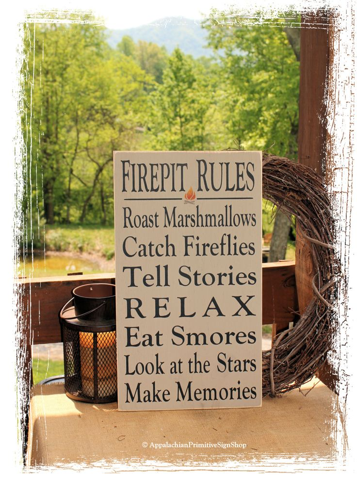 Firepit Rules Sign Typography -Wood Sign- Outdoor Decor Firepit Decoration Family Bonfire Sign Housewarmin
