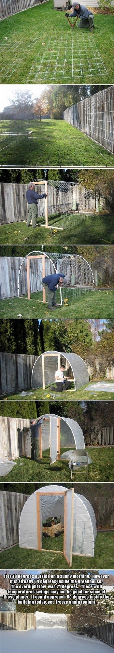 I've built one similar to this. No mesh just all PVC! I like the mesh idea. Make Your Own Greenhouse