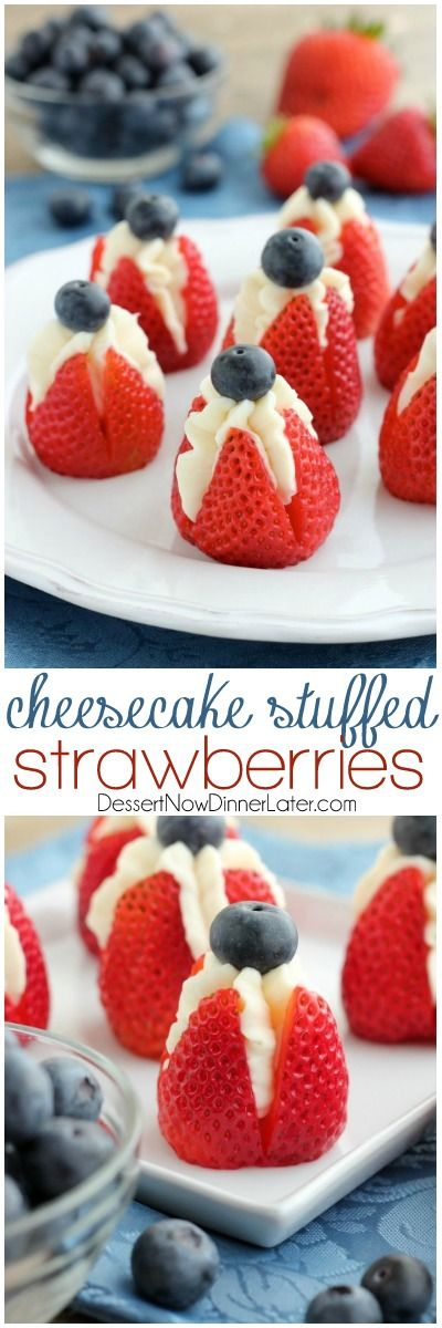 Try these easy red, white, and blue Cheesecake Stuffed Strawberries for a healthier patriotic dessert! Gre