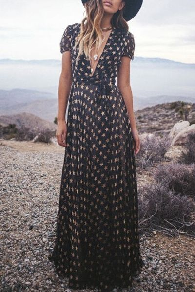 Full Star Print Short Sleeve Maxi Dress: Maxi Dresses   ZAFUL