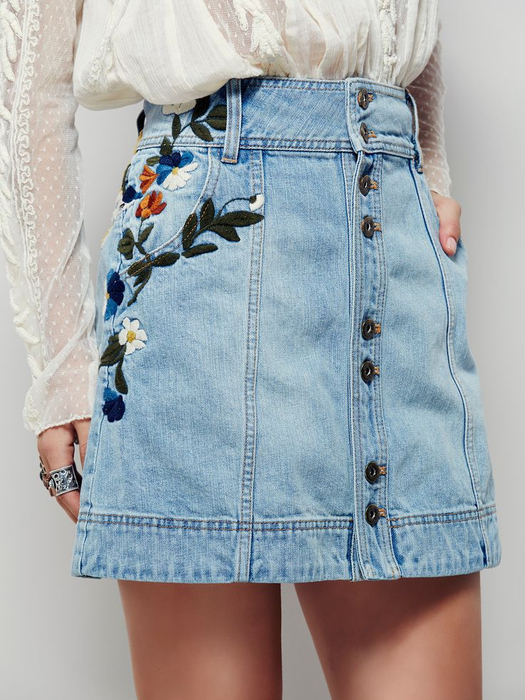 Jackson Embroidered Denim Skirt | This vintage-inspired denim mini skirt will have you dreaming of day
