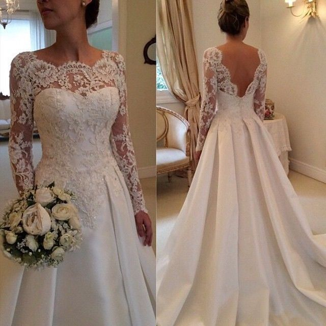 Sexy backless White/Ivory long sleeve Lace Wedding Dress Bridal Gown Custom Size in Wedding Dresses |