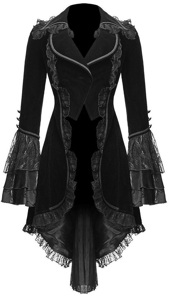 victorian froack coat in black velvet