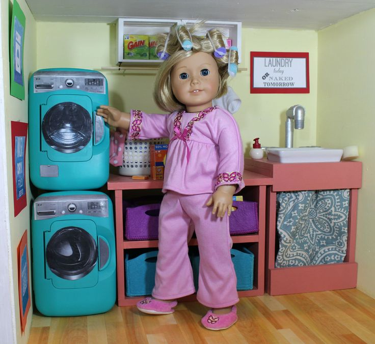 American Girl Laundry Room . diy washer dryer from pampers wipes containers