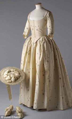 silk brocade gown , matching shoes and straw hat worn by Jane Bailey to her 1780 marriage to James Wic