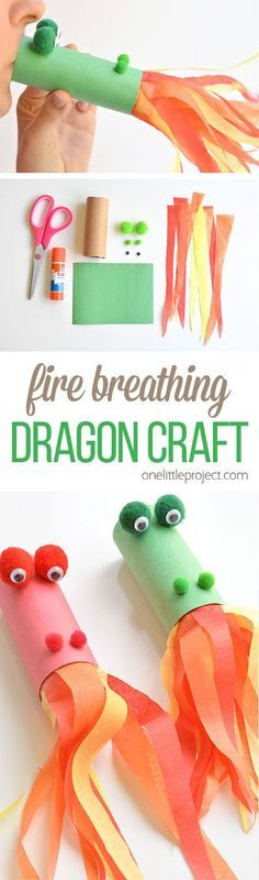 This fire breathing, toilet paper roll dragon is SO MUCH FUN! Blow into the end, and it looks like fla
