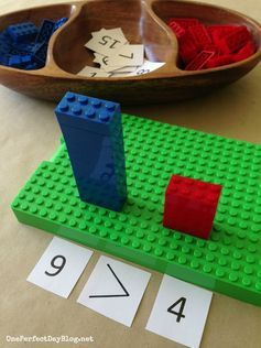 Lego comparisons and equivalency! This is such a great manipulative for teacher greater than, less tha