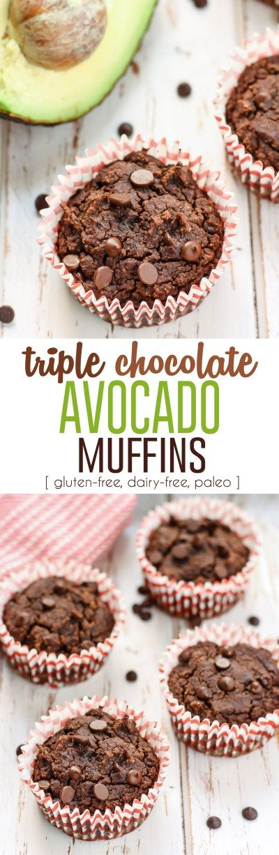 These Triple Chocolate Avocado Muffins are going to be your new healthy favorite! Made with coconut fl
