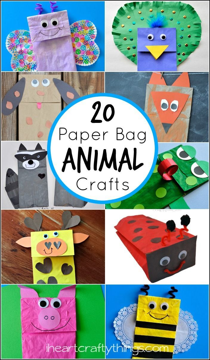 20 Paper Bag Animal Crafts for Kids featured on iheartcraftything….