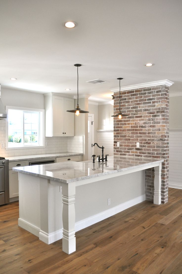 brick accent wall, wall color, marble top