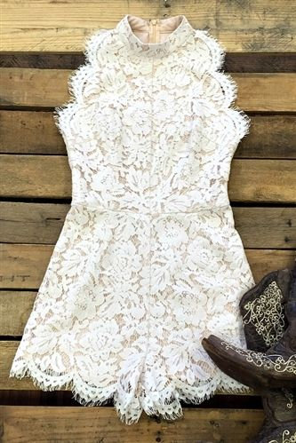 Three Times A Woman Lace Romper – Ivory & Black $42.88! #southernfriedchics