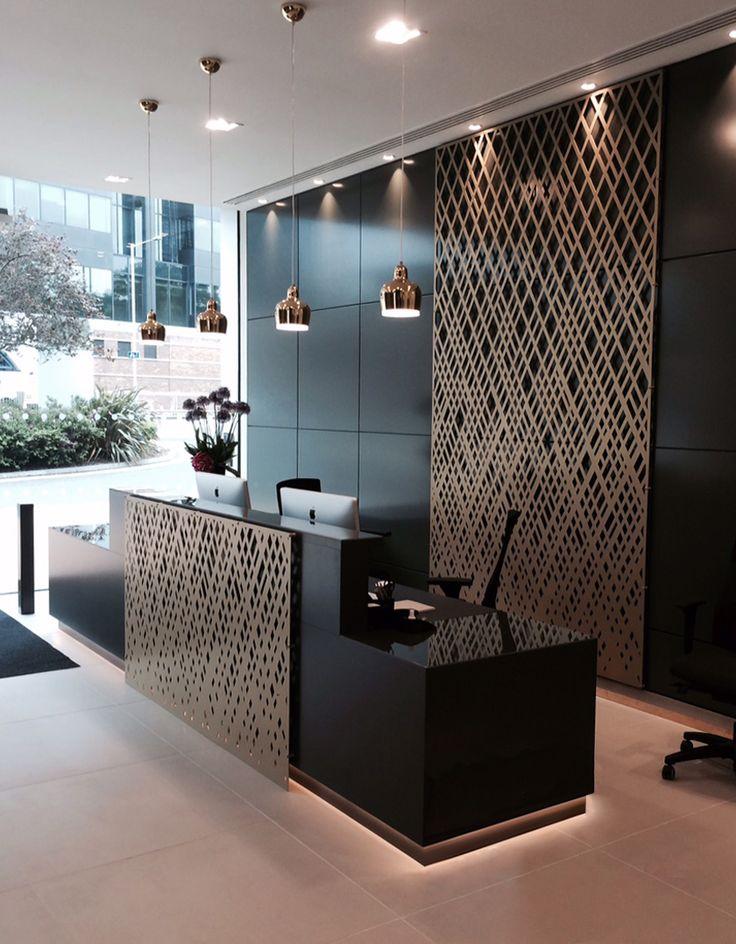 Aberdeen Asset Management reception, London. Laser cut screens, Weave design by…