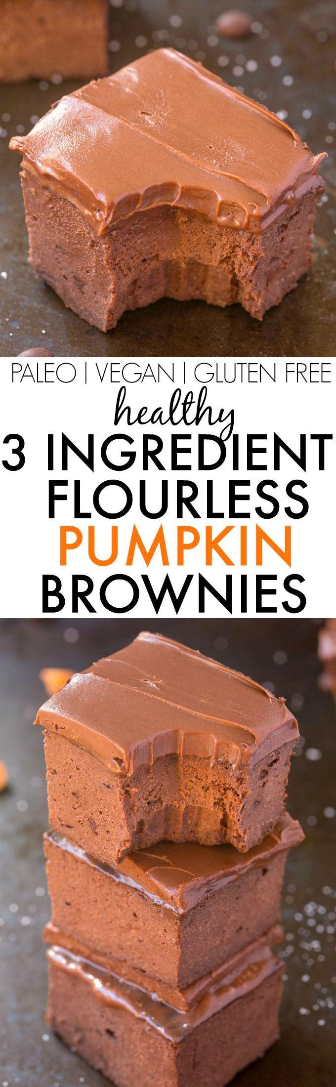 Healthy 3 Ingredient FLOURLESS Pumpkin Brownies- SO easy, simple and fudgy- NO butter, NO flour, NO su