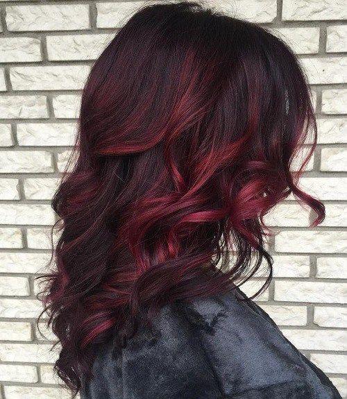 burgundy+balayage+for+dark+brown+hair