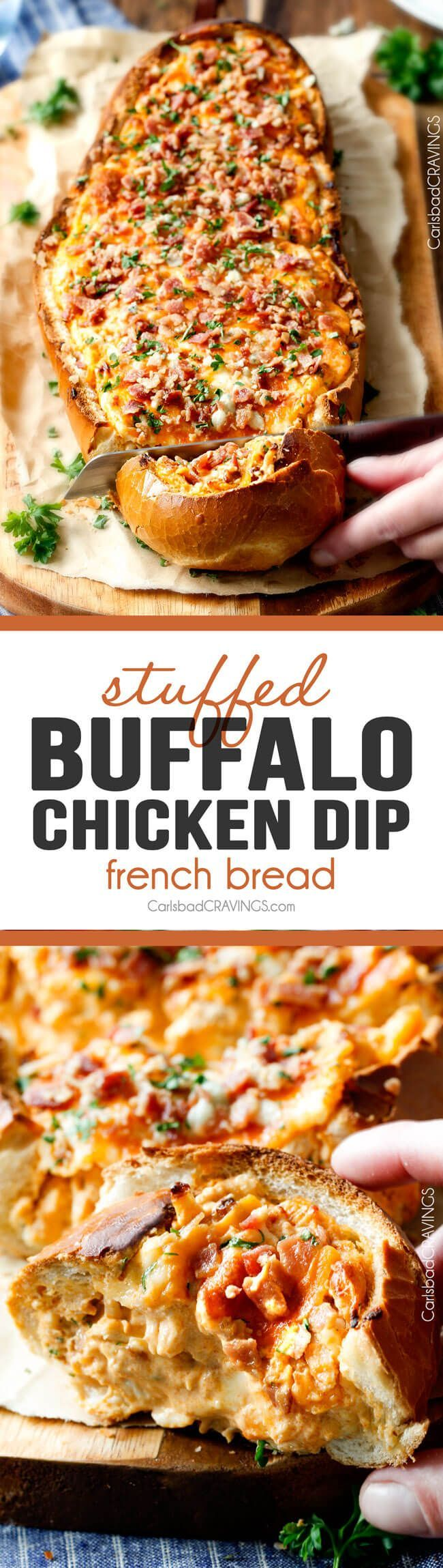 Mega flavorful Buffalo Chicken Dip Stuffed French Bread is your favorite decadent creamy, cheesy dip b
