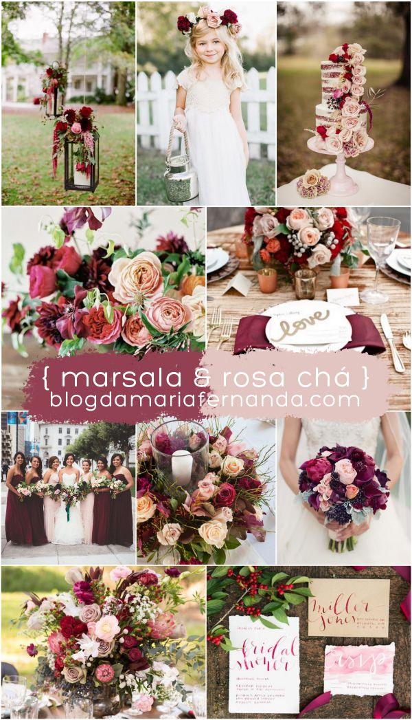 Decoração de Casamento : Paleta de Cores Marsala e Rosa Chá | Wedding Decor Color Palette Marsala a