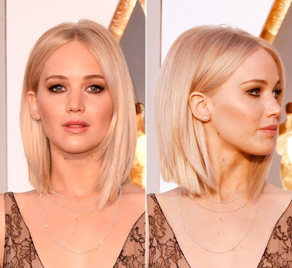 Jennifer Lawrence looked seriously stunning at the 2016 Academy Awards, with her blonde hair parted in