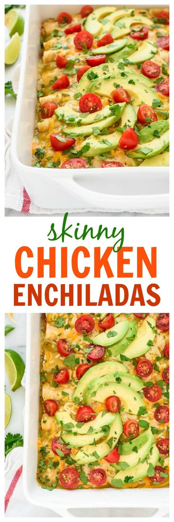 This simple and healthy recipe for Creamy Chicken Enchiladas is the BEST! Easy to make, freezer-friend