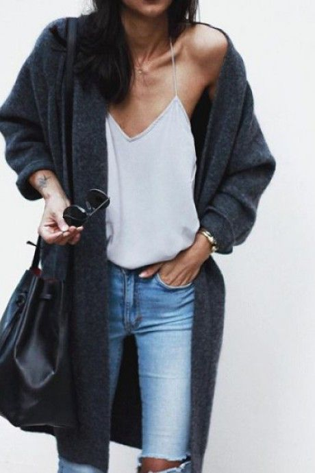 nice street style – skinny jeans, white top, grey long cardigan… by…
