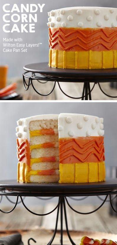 Create this cool candy corn 5-layer cake for your Halloween parties this year! | Get the project from