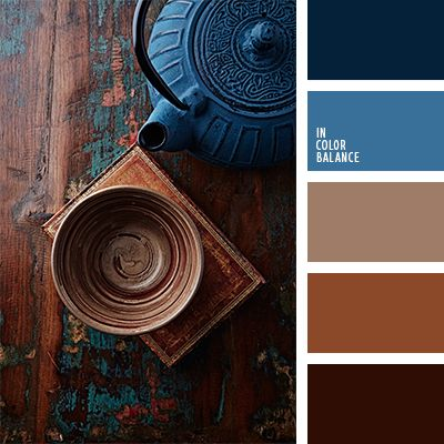 Brown and blue, navy or dark blue. Color inspiration for design, wedding or outfit. Moore color pallet