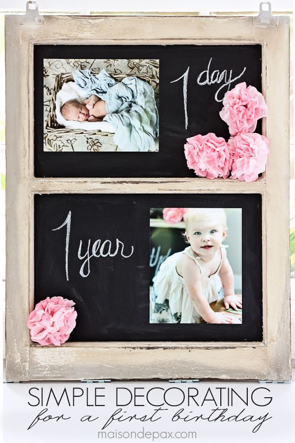 simple decorations for a first birthday party – I love the 1 day and 1 year pics! maisondepax.com