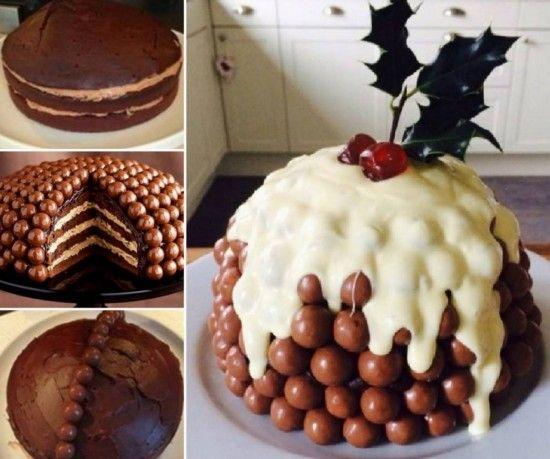 Malteser Cake Christmas Pudding