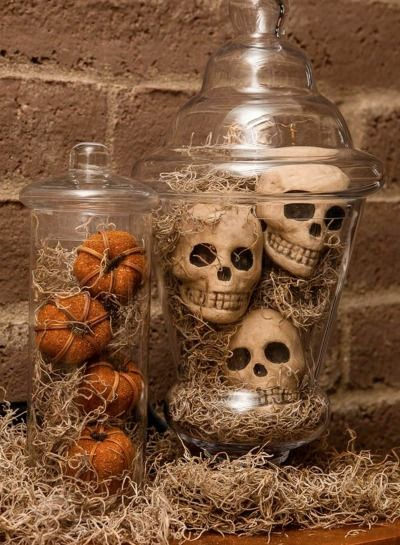 Spooky Spanish Moss Apothecary Jars are a fun and scary way to dress up your house for Halloween!| DIY
