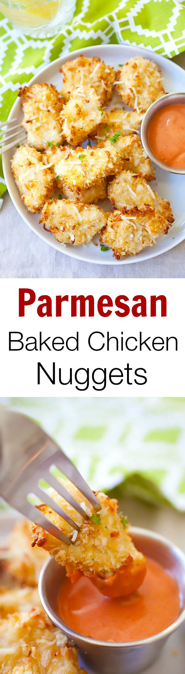 Parmesan Baked Chicken Nuggets – easy chicken nuggets with real chicken and no d