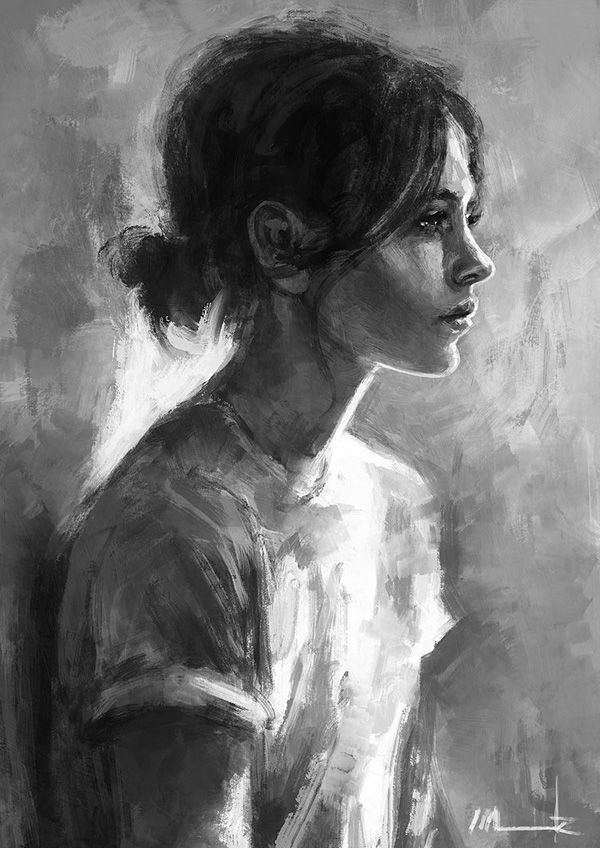 Elina – Monochromatic digital painting. A woman is painted in black and white colo
