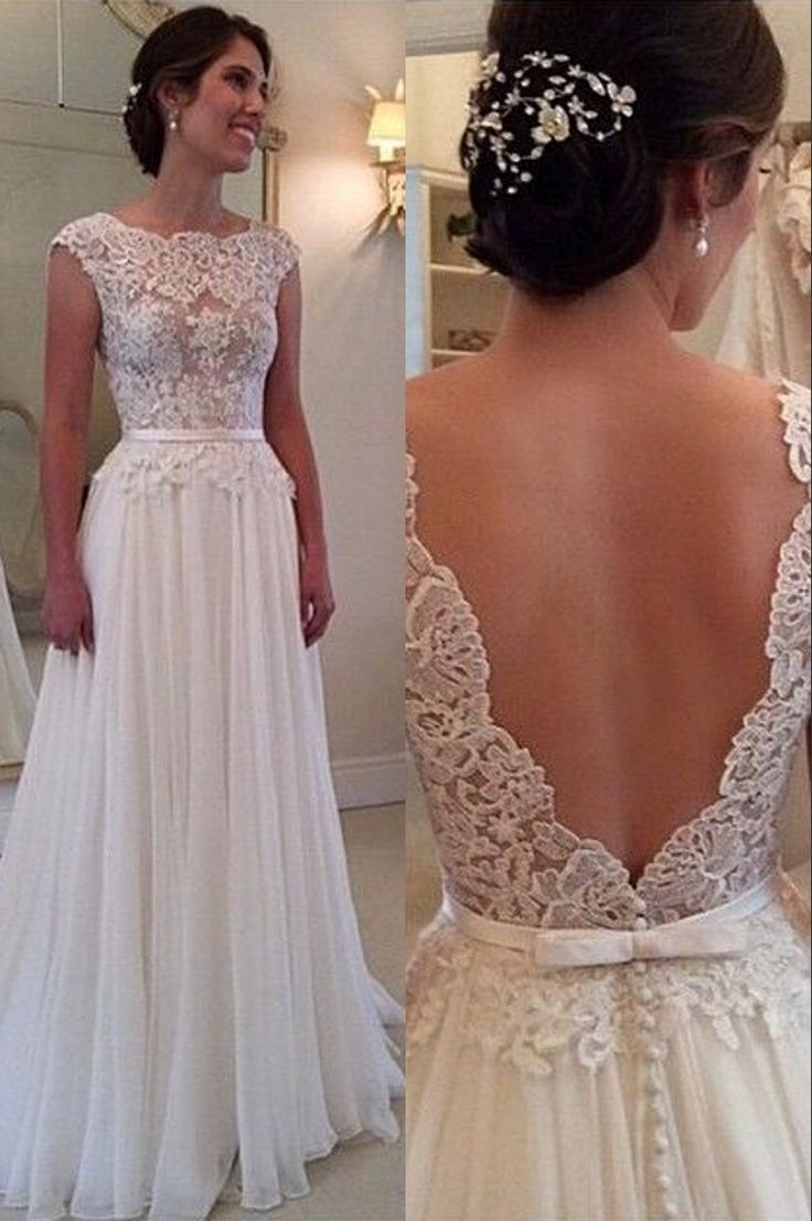 Lace Chiffon Backless A-line Wedding Dresses Capped Sleeves Sweep Train Summer Bri